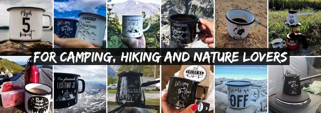 Unique enameled cups and coffee pots for camping, hiking and nature lovers!