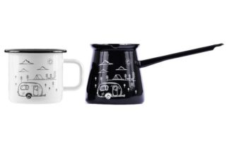 enamel mug and enamel coffee pot
