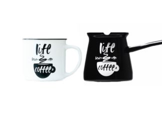 enamel coffee pots and mugs