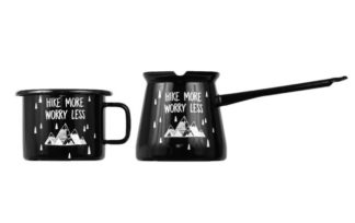 hike more worry less mug and pot